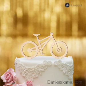 Cake Topper Mountainbike - Buchenholz