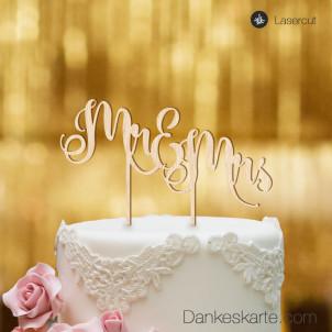 Cake Topper Mr&Mrs Text 2 - Buchenholz - XL