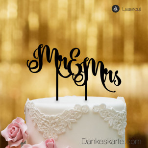 Cake Topper Mr&Mrs Text 2 - Schwarz - XL