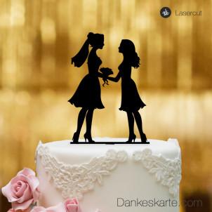 Cake Topper Mrs&Mrs - Schwarz - XL