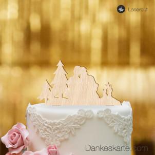 Cake Topper Paar am Lagerfeuer - Buchenholz