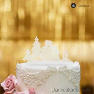 Cake Topper Paar am Lagerfeuer - Satiniert