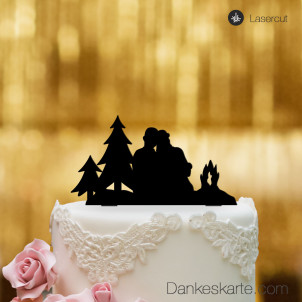 Cake Topper Paar am Lagerfeuer - Schwarz