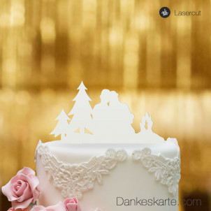 Cake Topper Paar am Lagerfeuer - Weiss