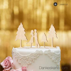 Cake Topper Paar mit Bäumen - Buchenholz - XL
