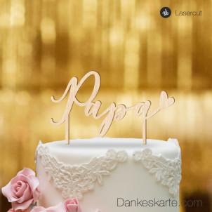 Cake Topper Papa - Buchenholz