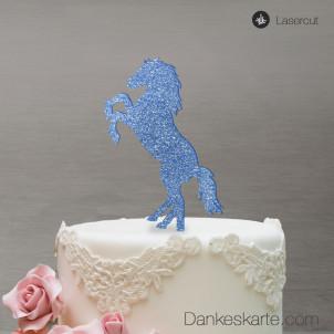 Cake Topper Pferd - Blau Glitzer
