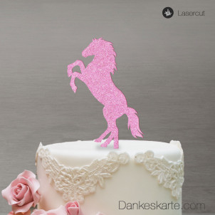 Cake Topper Pferd - Rosa Glitzer