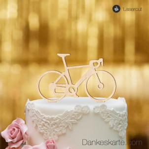 Cake Topper Rennrad - Buchenholz