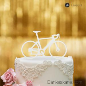 Cake Topper Rennrad - Weiss