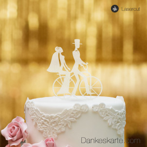 Cake Topper Retro Fahrrad - Satiniert - XL