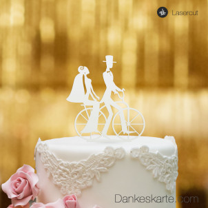 Cake Topper Retro Fahrrad - Weiss - XL