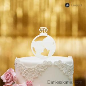 Cake Topper Ring mit Brautpaar - Weiss - S