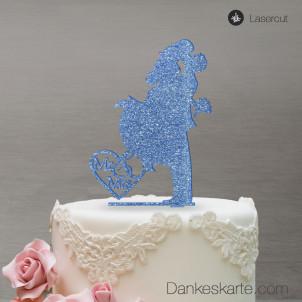 Cake Topper Sprung - Blau Glitzer - XL