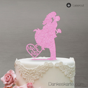 Cake Topper Sprung - Rosa Glitzer - XL