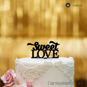 Cake Topper Sweet Love - Schwarz - S