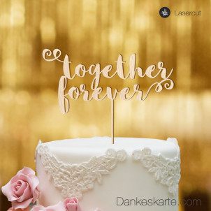 Cake Topper Together Forever - Buchenholz - XL