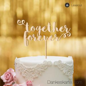 Cake Topper Together Forever - Buchenholz - XL