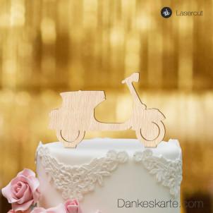 Cake Topper Vespa - Buchenholz