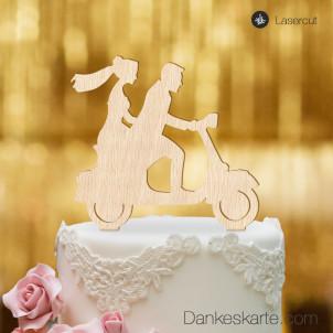Cake Topper Vespa mit Brautpaar - Buchenholz