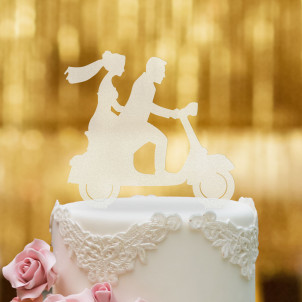 Cake Topper Vespa mit Brautpaar - Satiniert