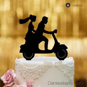 Cake Topper Vespa mit Brautpaar - Schwarz