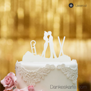 Cake Topper Wintersport - Weiss - XL