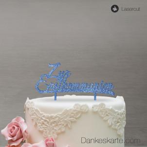 Cake Topper Zur Erstkommunion - Blau Glitzer