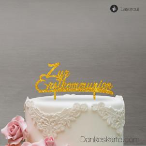 Cake Topper Zur Erstkommunion - Gold Glitzer
