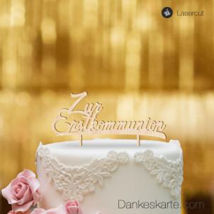 Cake Topper Zur Erstkommunion - Buchenholz