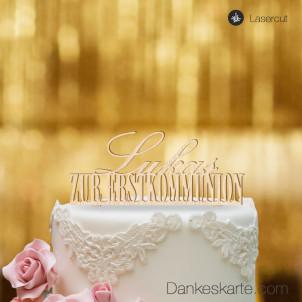 Cake Topper Zur Erstkommunion personalisiert - Buchenholz - XL