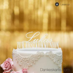 Cake Topper Zur Erstkommunion personalisiert - Weiss - XL