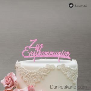 Cake Topper Zur Erstkommunion - Rosa Glitzer