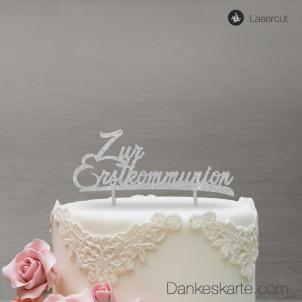 Cake Topper Zur Erstkommunion - Silber Glitzer
