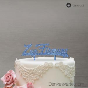 Cake Topper Zur Firmung - Blau Glitzer