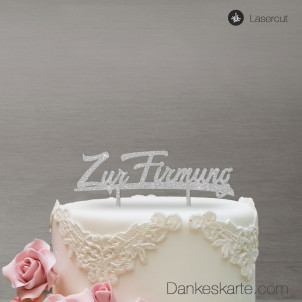 Cake Topper Zur Firmung - Silber Glitzer
