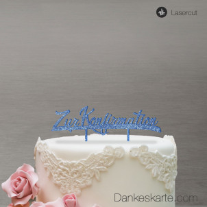 Cake Topper Zur Konfirmation - Blau Glitzer - XL