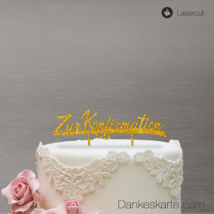 Cake Topper Zur Konfirmation - Gold Glitzer - XL