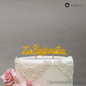 Cake Topper Zur Konfirmation - Gold Glitzer