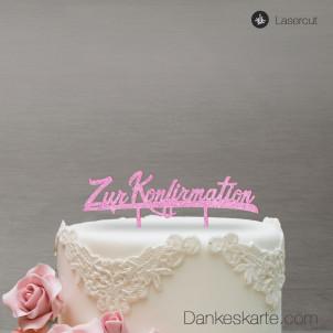 Cake Topper Zur Konfirmation - Rosa Glitzer