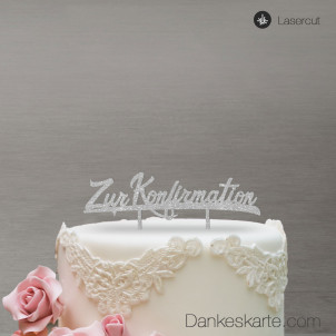 Cake Topper Zur Konfirmation - Silber Glitzer