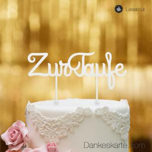 Cake Topper Zur Taufe Schreibschrift - Weiss - XL