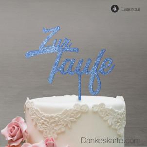 Cake Topper Zur Taufe Zweizeilig - Blau Glitzer - XL