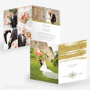 Dankeskarte Golden Glitter 15 x 21 cm