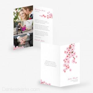 Dankeskarte Kirschblüten 10 x 21 cm