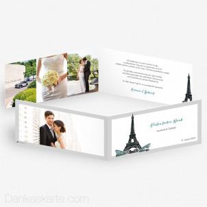 Dankeskarte Pariser Chic 21 x 10 cm