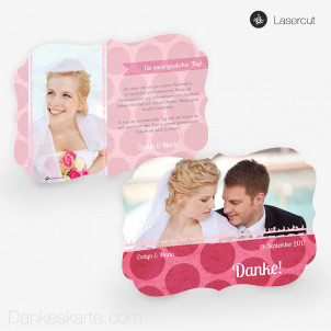 Lasercut-Dankeskarte Pink Bubbles 21 x 15cm Ornament