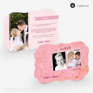 Lasercut-Dankeskarte Pink Stamp 21 x 15cm Ornament