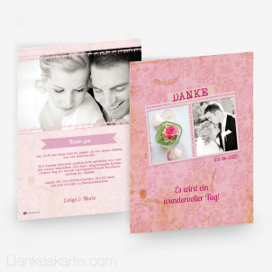 Dankeskarte Pink Stamp 15 x 21 cm