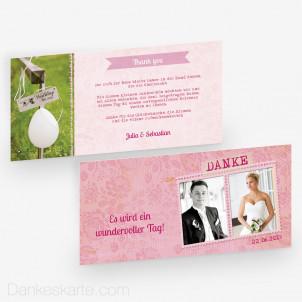 Dankeskarte Pink Stamp 21 x 10 cm